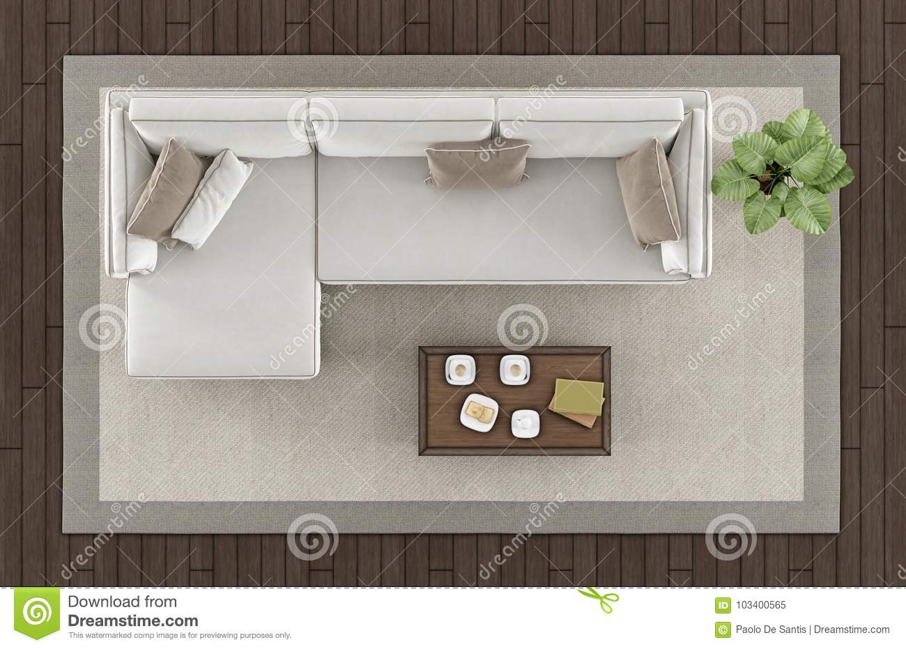 Top View Of A Modern Living Room Stock Illustration - Illustration