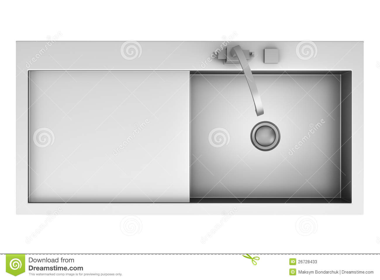 Modern kitchen sink white - Top View Of Modern Metal Sink Isolated On White Stock Photos Image