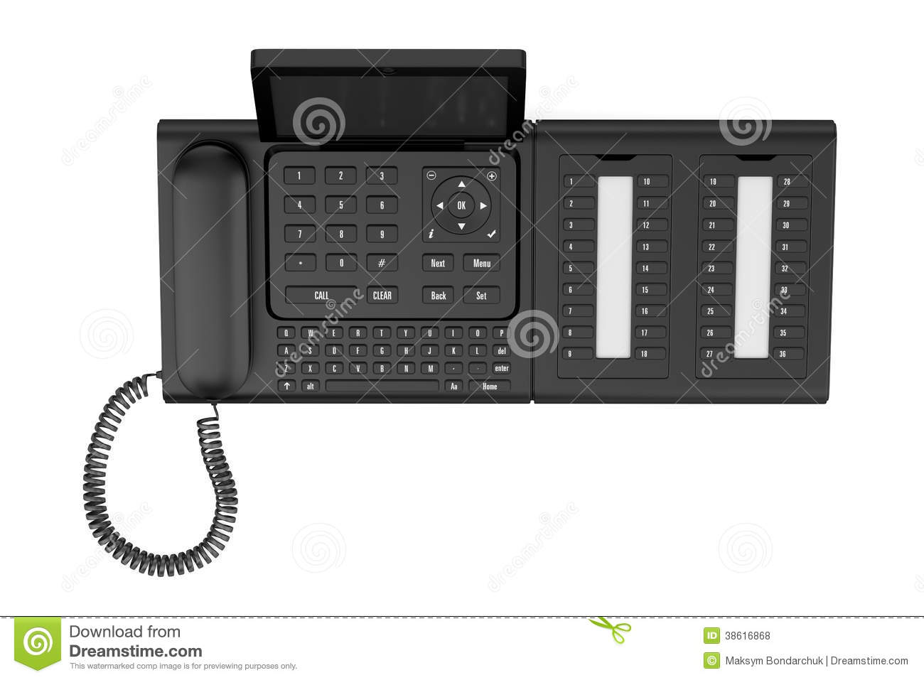 Top View Of Modern Office Desk Phone Isolated On White ... | 1300 x 957 jpeg 79kB