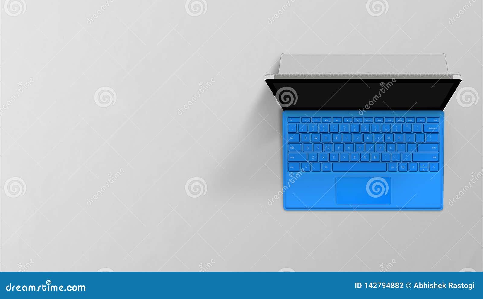Modern retina laptop with English keyboard  on white background
