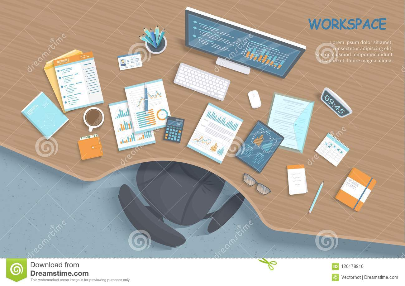 Top view of modern stylish wooden desk in office, chair, office supplies, documents. Business workplace.