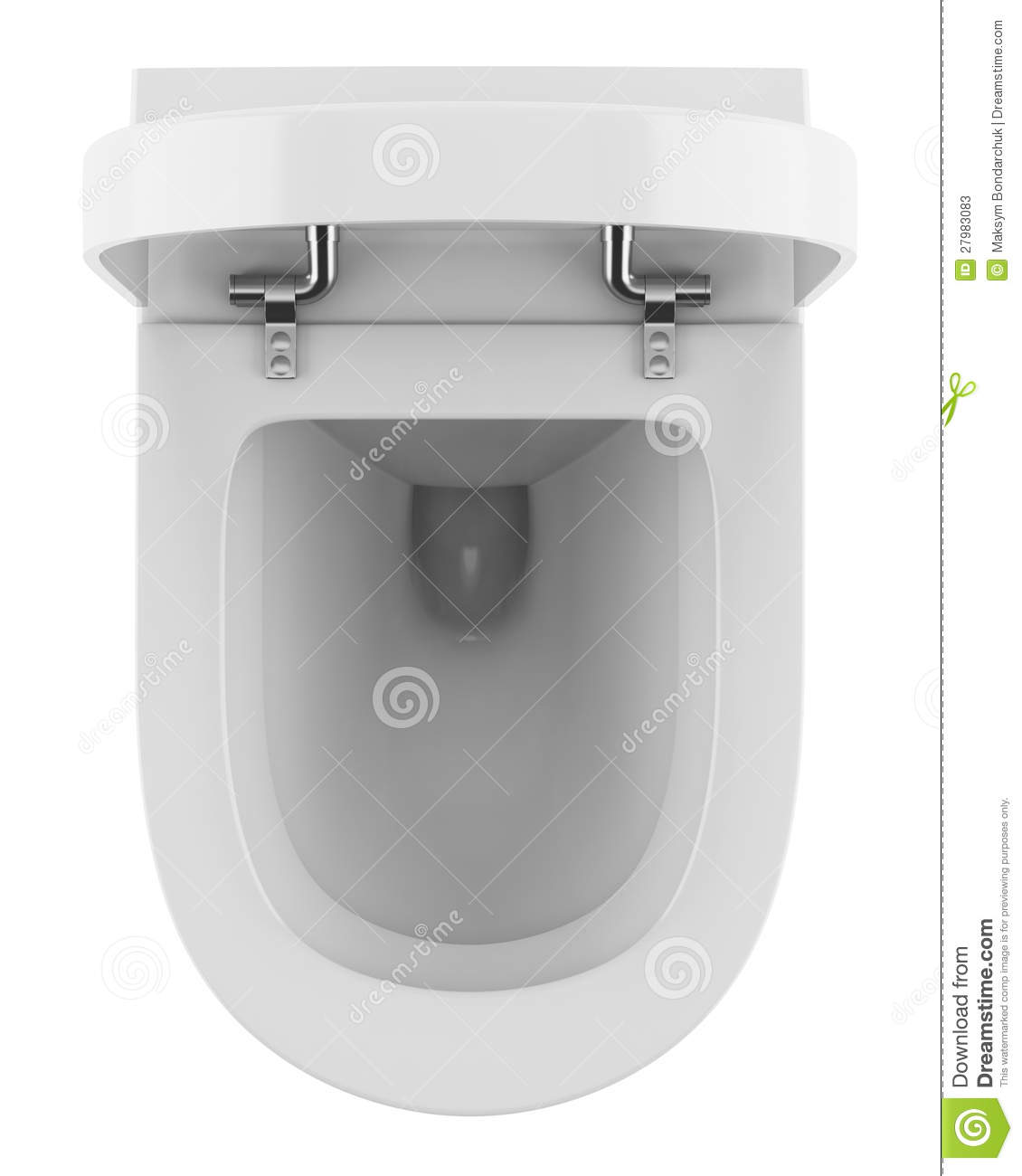Top View Of Modern Toilet Bowl Isolated On White Stock