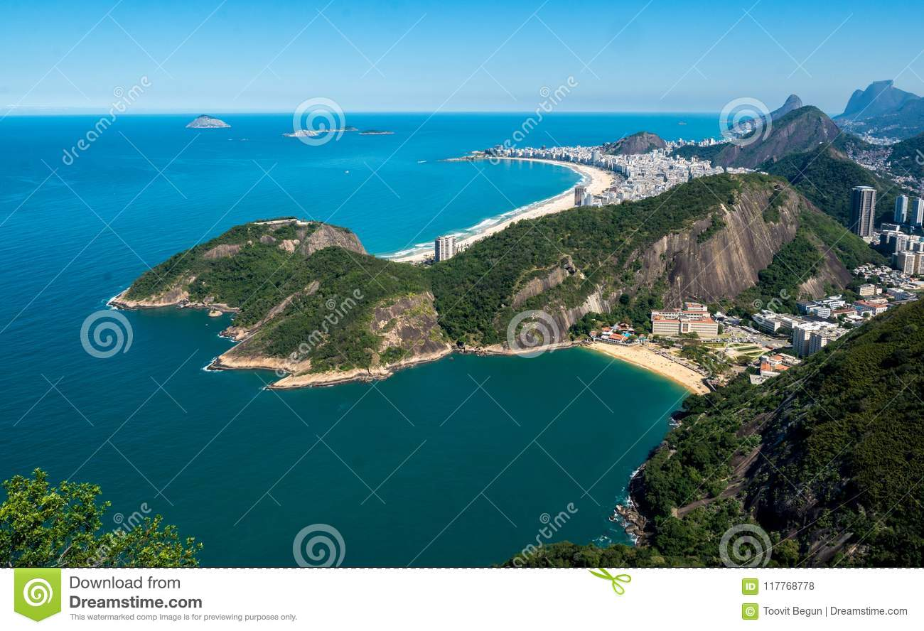 A top view on the beautiful Copacabana beach in Rio de Janeiro, Brasil