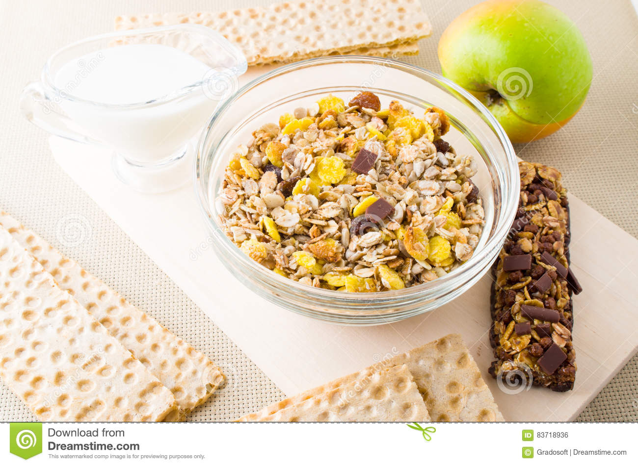 Top View Of A Muesli In Glass Bowl Stock Photo