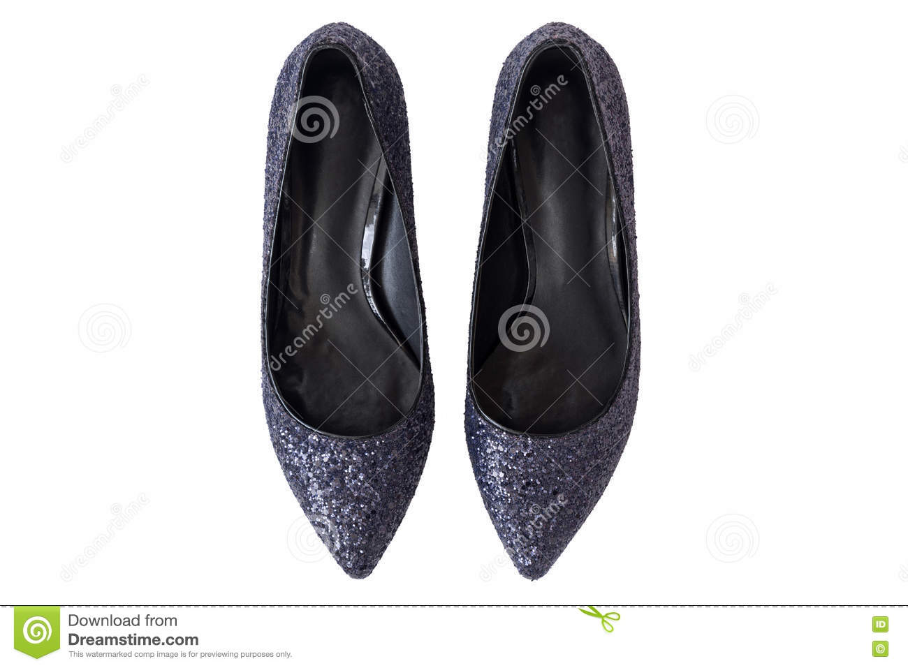 2fe995ea3e Top view of new pair of sparkling stylish navy blue high heels, beautiful  shoes with glitters for ladies isolated on white background