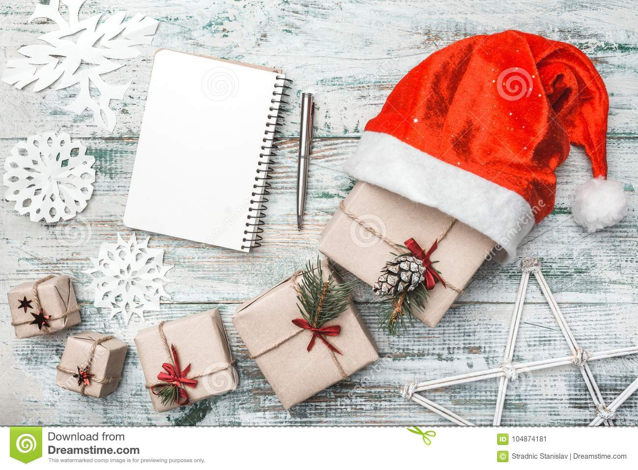top view on nice christmas gifts wrapped in white gift paper christmas tree decorations in - Nice Christmas Gifts