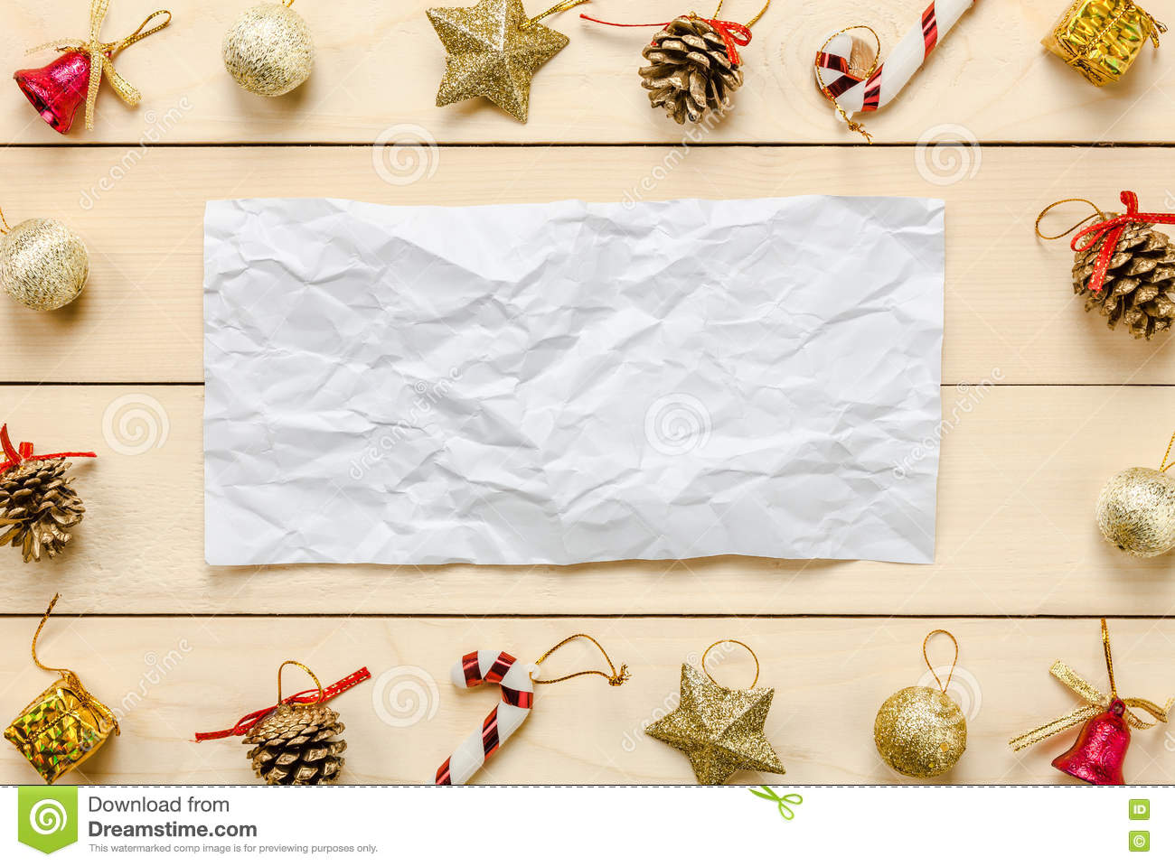 Top view note crumpled paper Chrismas decoration and ornament on