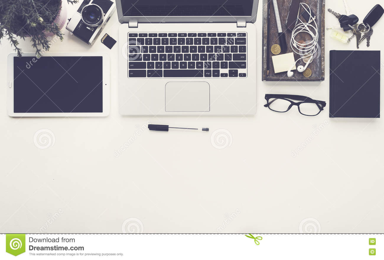 Awe Inspiring Top View Office Desk Hero Header Stock Photo Image Of Interior Design Ideas Clesiryabchikinfo