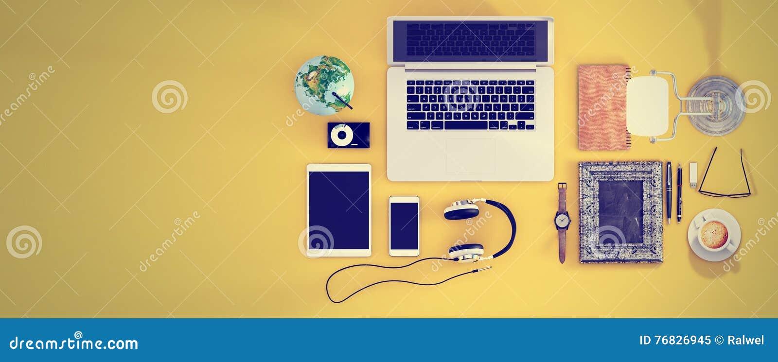 Top View Office Desk Hero Header For Responsive Webdesign
