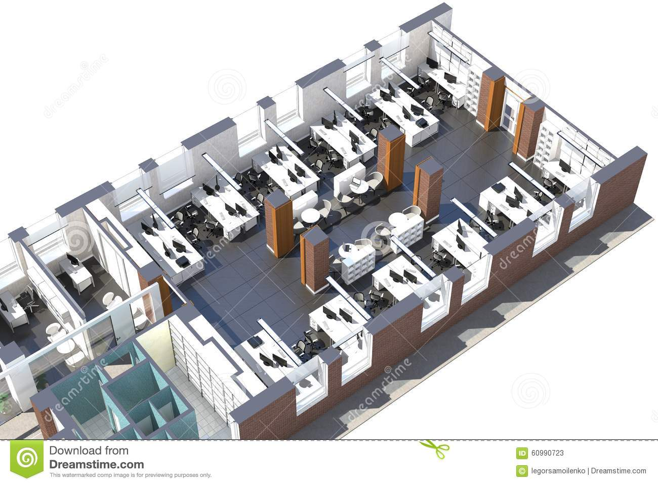 Top View Of The Office Space Stock Illustration Image