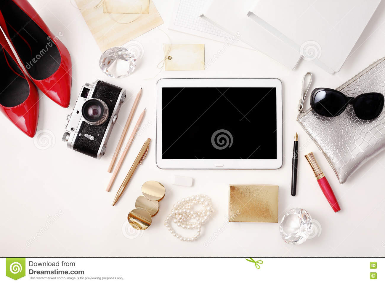 Top View Office Table Desk Stock Photo Image 74980264