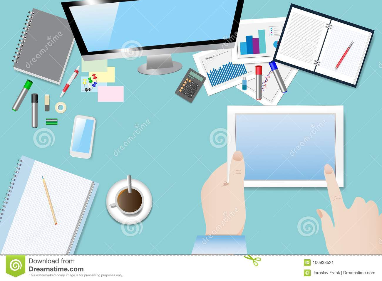 Top View Of The Office Table Stock Vector - Illustration of