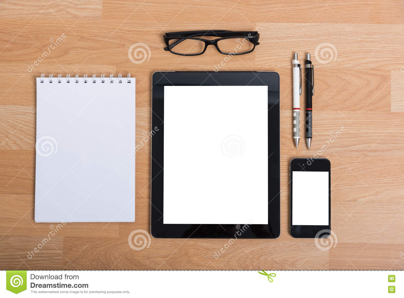 Top View Office Table With Mobile Phone Stock Photo