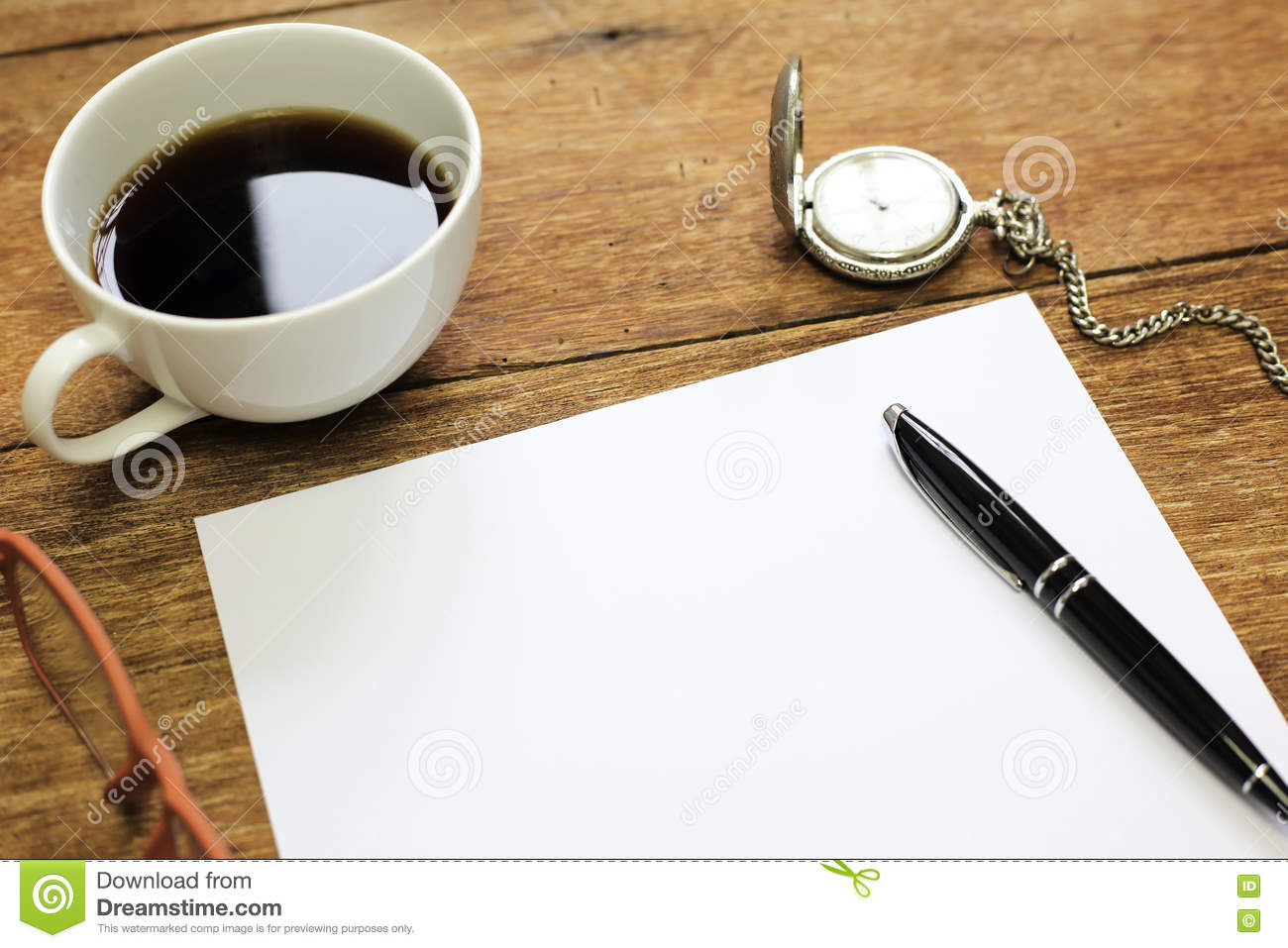Top office table cup Coffee Top View Of Office Table With Notebook Blank Paper Pen Cup Dreamstimecom Top View Of Office Table With Notebook Blank Paper Pen Cup Stock