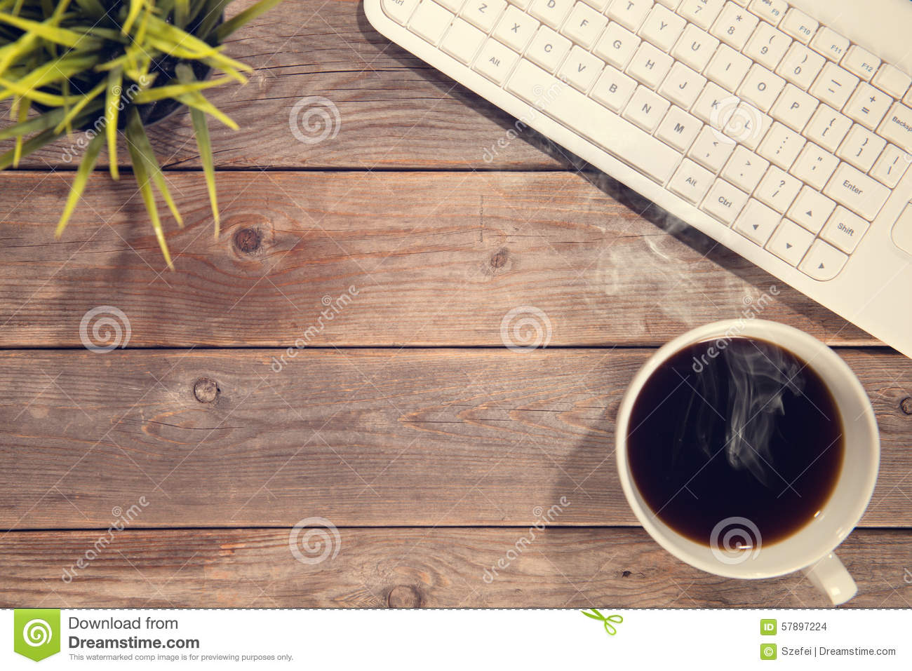 Top View Office Wooden Working Desk Stock Photo Image of design