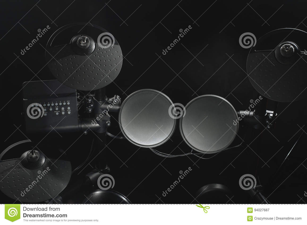 Diagram Of Old Drum Residential Electrical Symbols Set Top View An Electronic Kit On Black Background Close Up Rh Dreamstime Com Setup