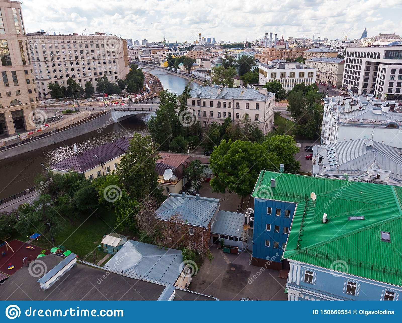 Top view of old houses in center and the Vodootvodnyy channel in Moscow, Russia.