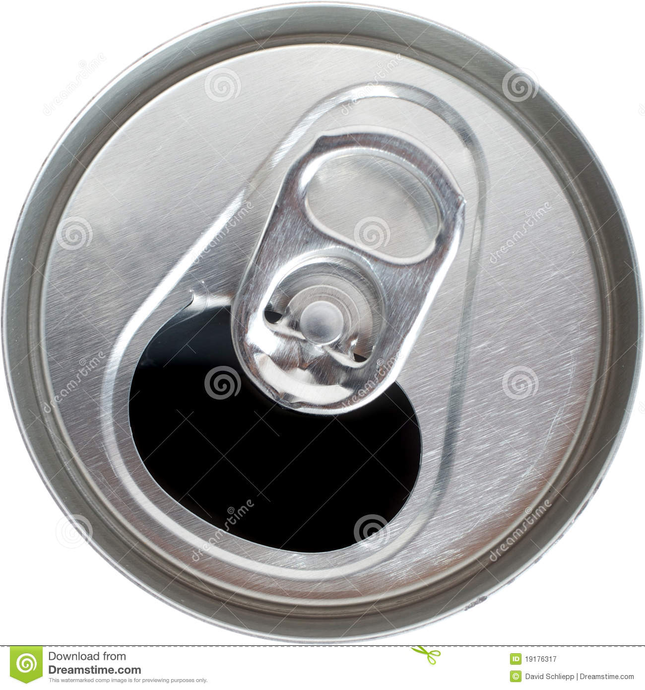 Top View Of An Open Silver Soda Pop Can Stock Image
