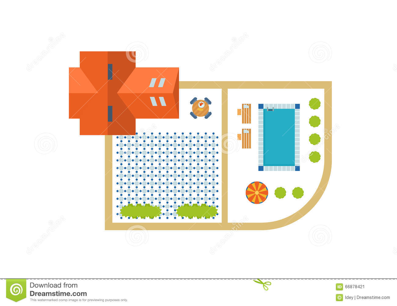 Top  view  of outdoor house  stock vector  Image of