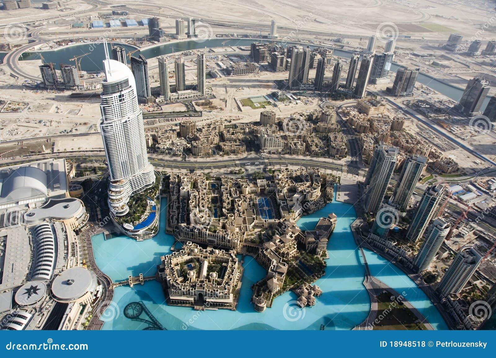 Burj Al Arab Floor Plans Top View Over Dubai From Burj Khalifa Skyscraper Stock