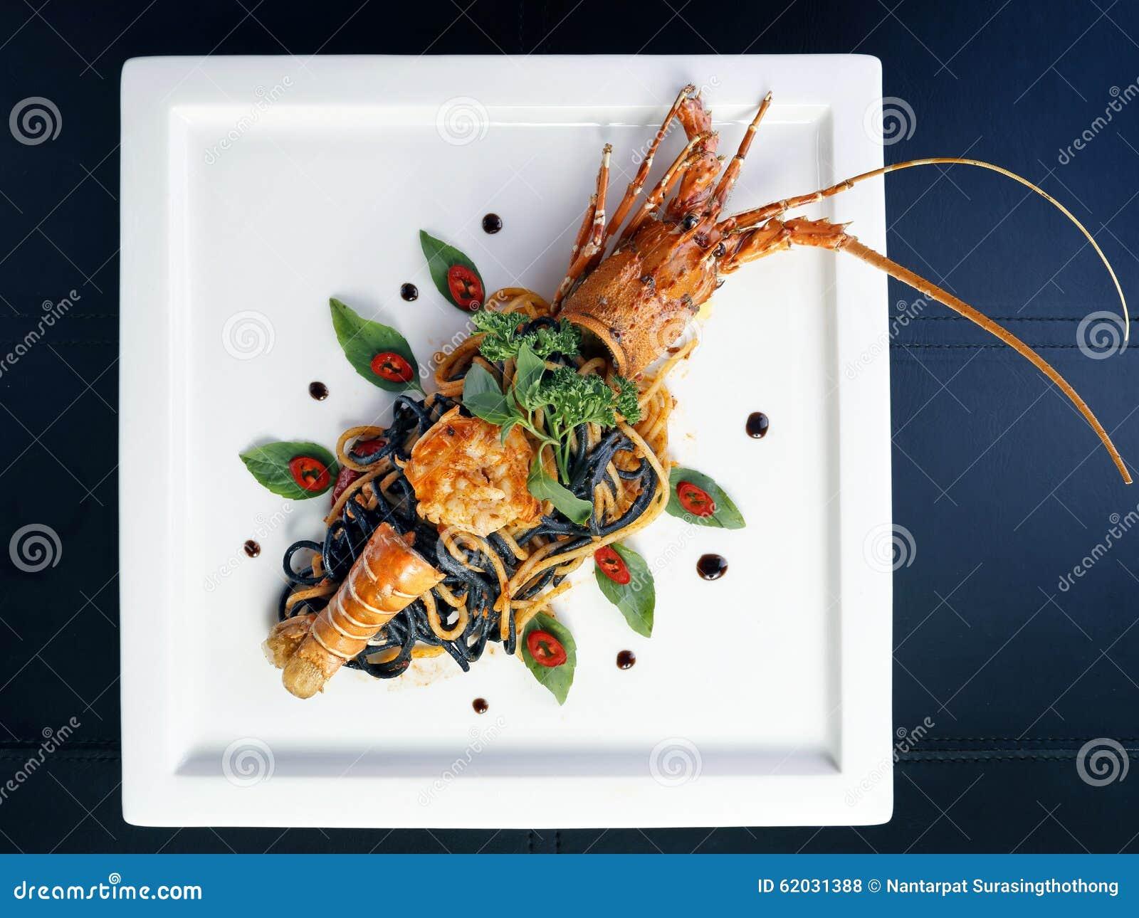 Lobster Spaghetti, Italian Cuisine Royalty-Free Stock Image | CartoonDealer.com #80958400
