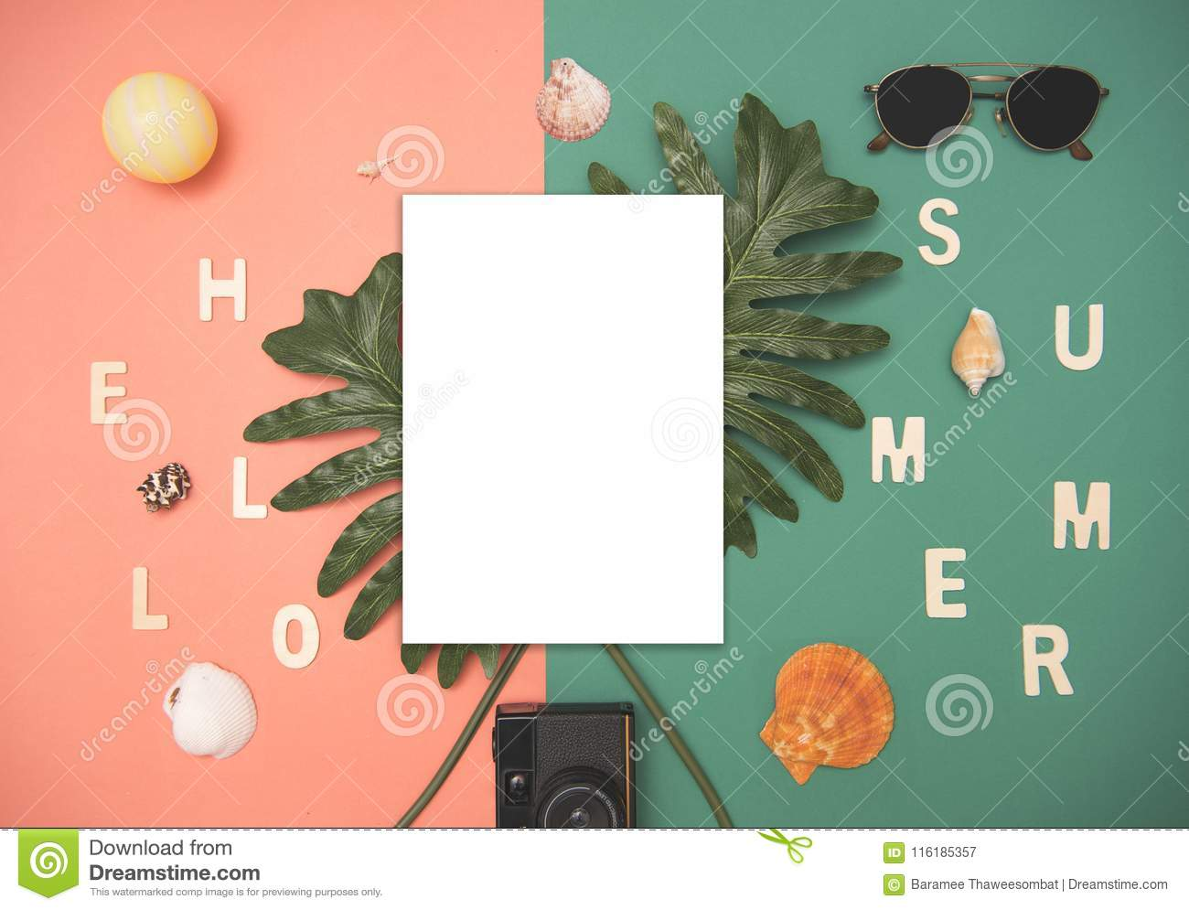 Top view paper mockup template nature tropical monstera palm