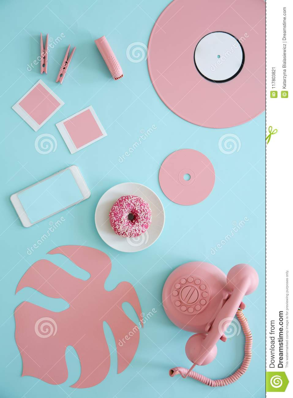Top view of pastel table