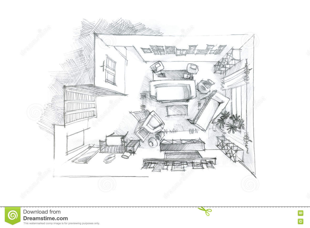 Top view pencil drawing of living room in black and white for Living room drawing