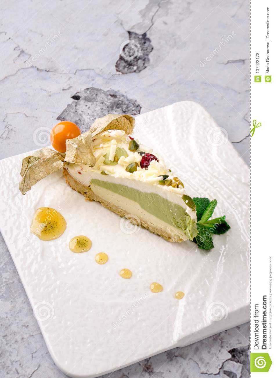 Top View Piece Of Green Tea Cake On White Plate On Gray Background ...