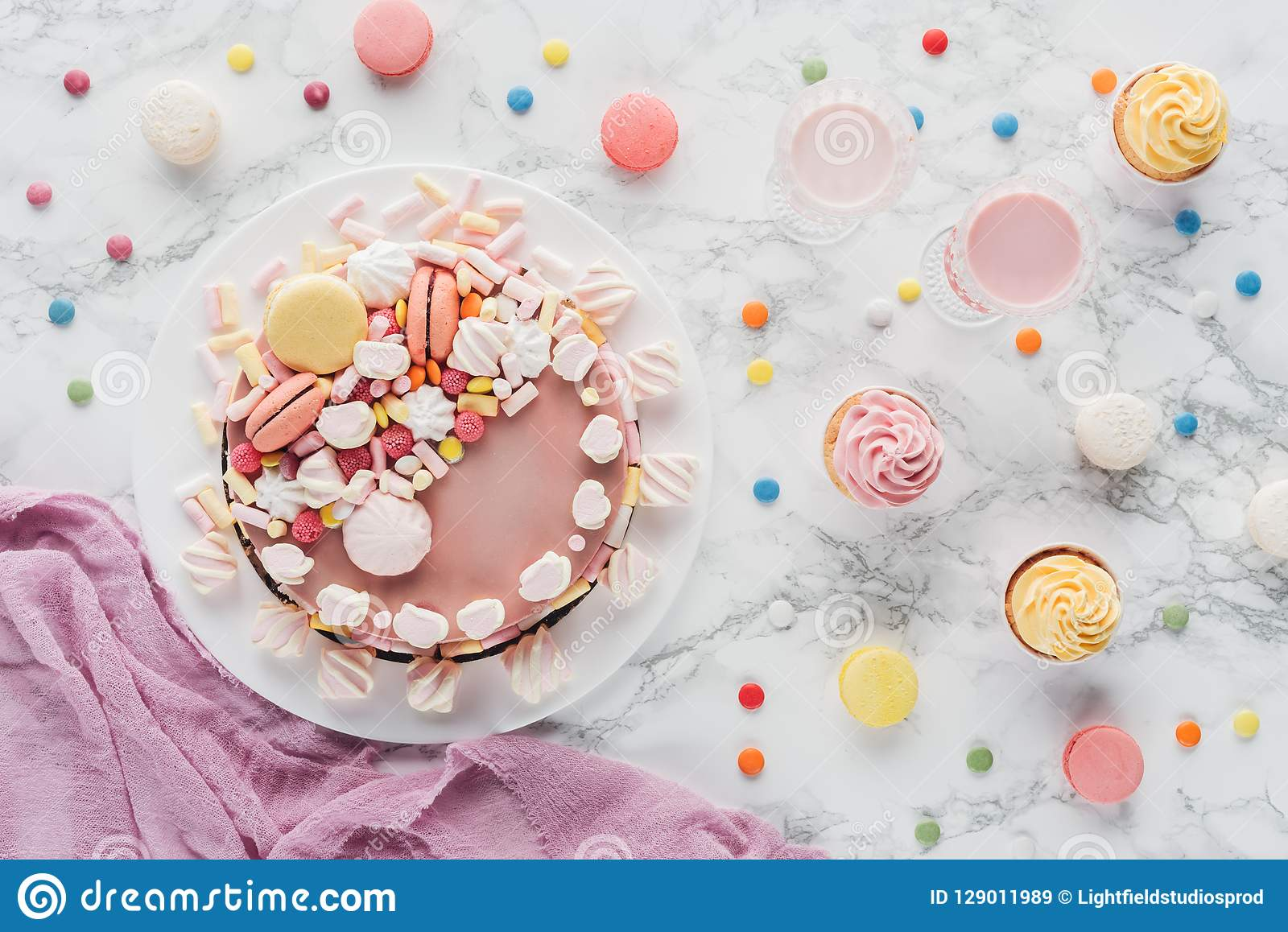 Superb Top View Of Pink Birthday Cake With Marshmallows Cupcakes And Personalised Birthday Cards Akebfashionlily Jamesorg