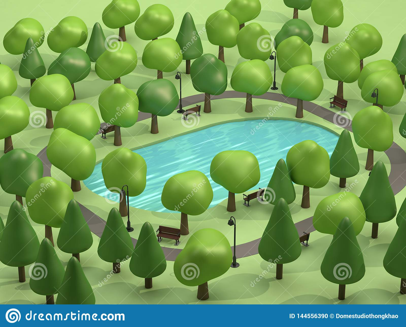 top view pond in green parks and many trees low poly 3d render cartoon style