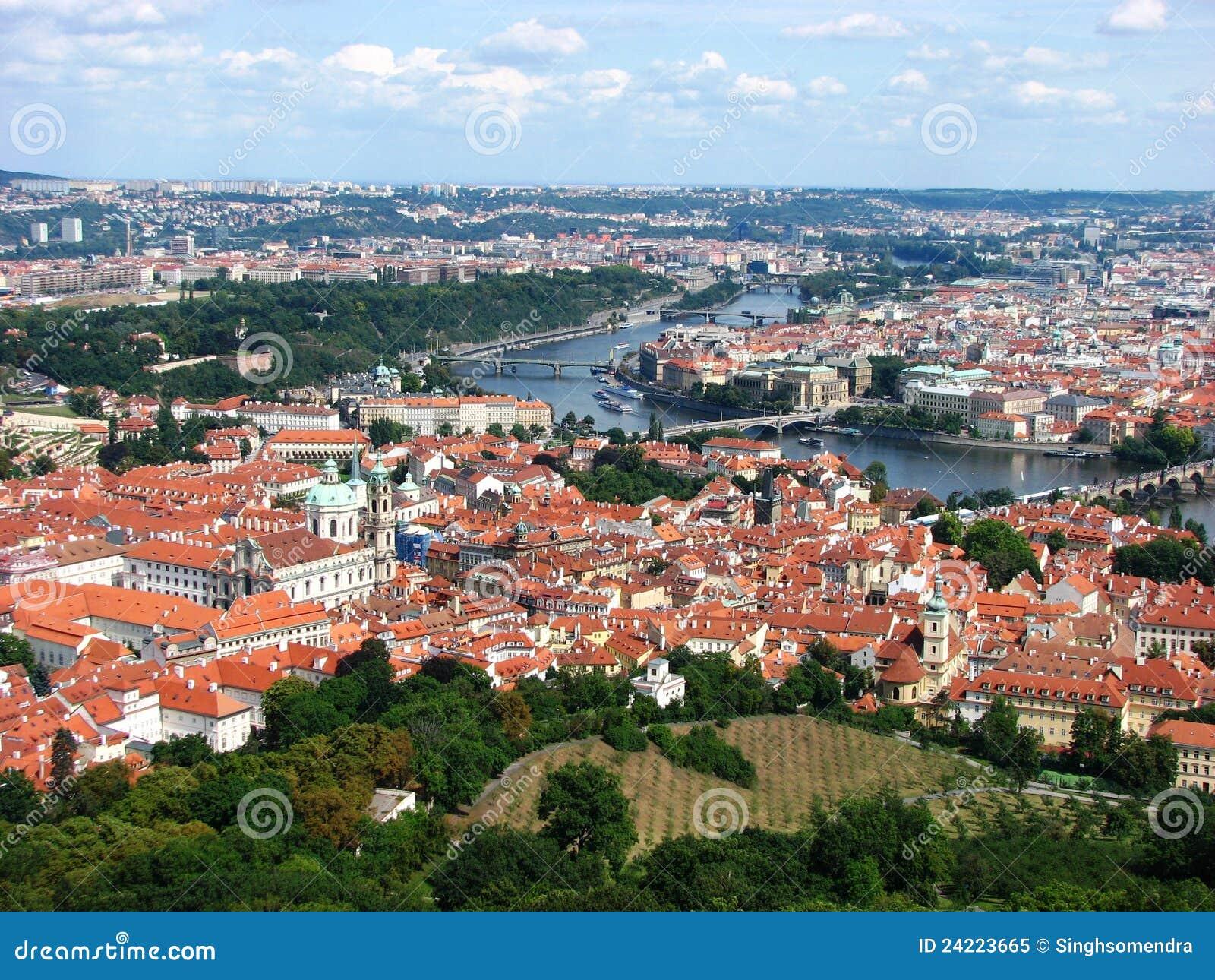 Top view of prague city with vltava river royalty free for Top ten prague