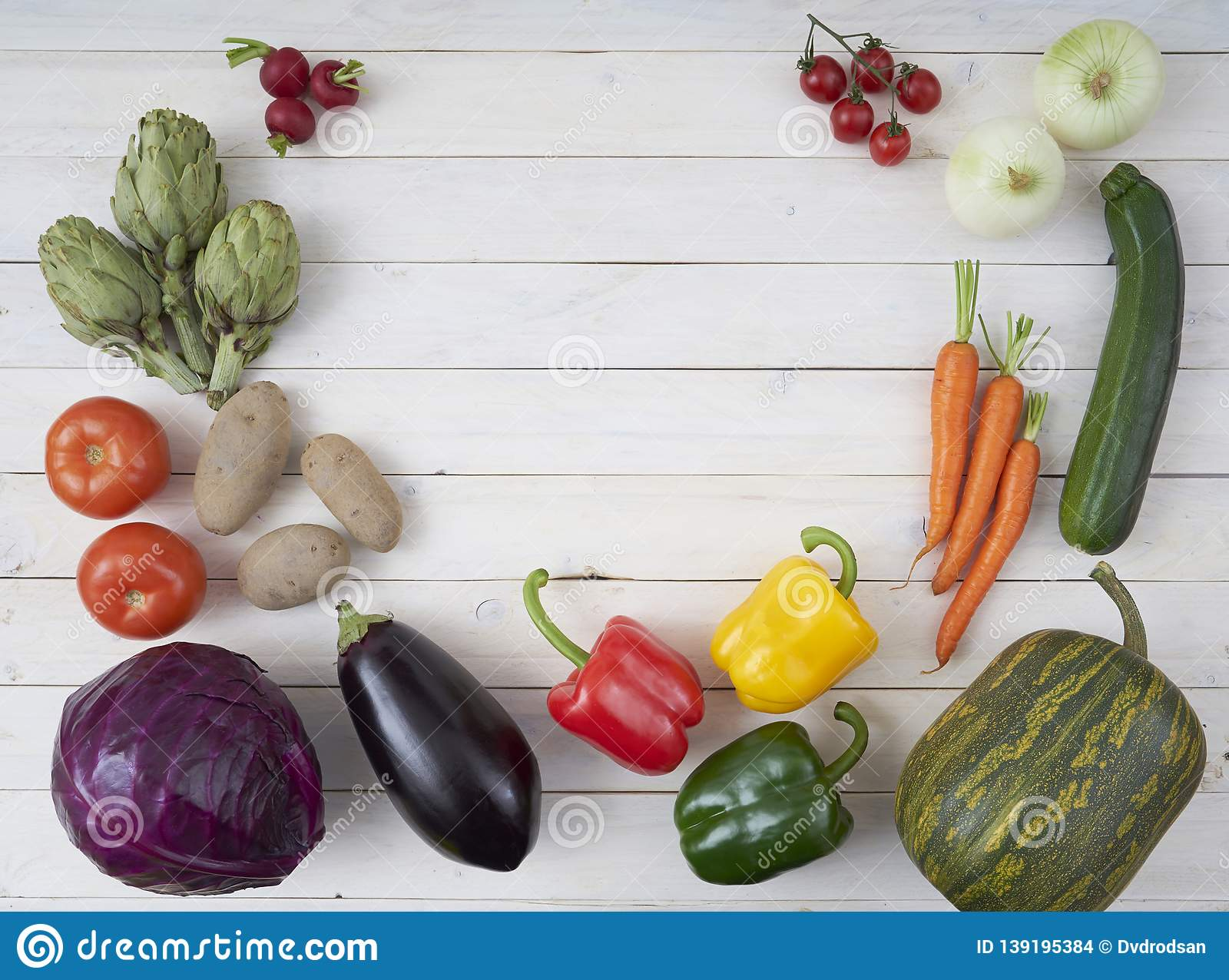 Top View Of Raw Vegetables For Posters And Healthy Food