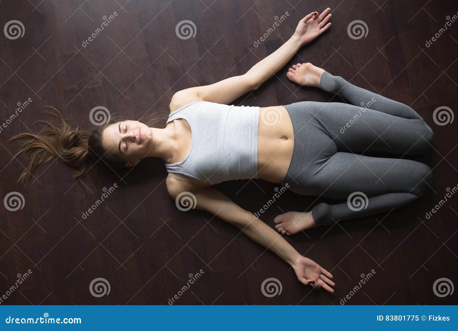 Top View Of Reclining Hero Yoga Posture Stock Image   Image Of High, Floor:  83801775