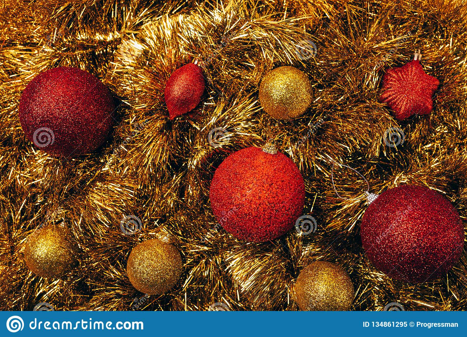 Top View Red And Golden Christmas Balls Stock Image - Image of festive, glitter: 134861295