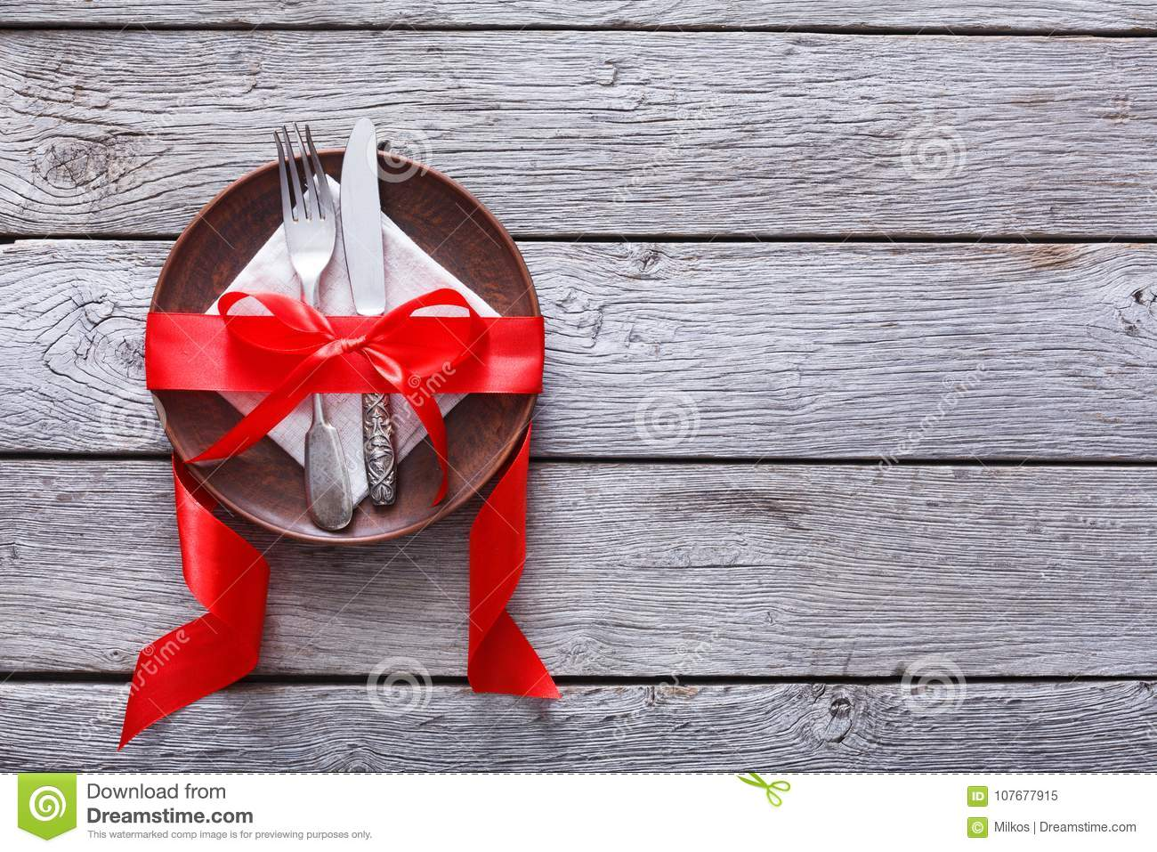 Valentine Day Background Cutlery On Plate With Ribbon On Wood Stock