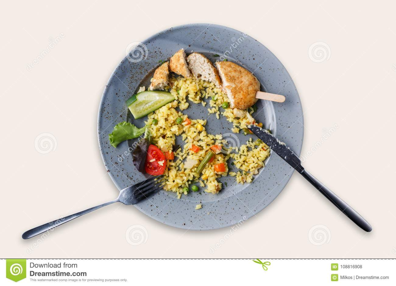 Top View On Rice And Chicken Cutlet Isolated Over White