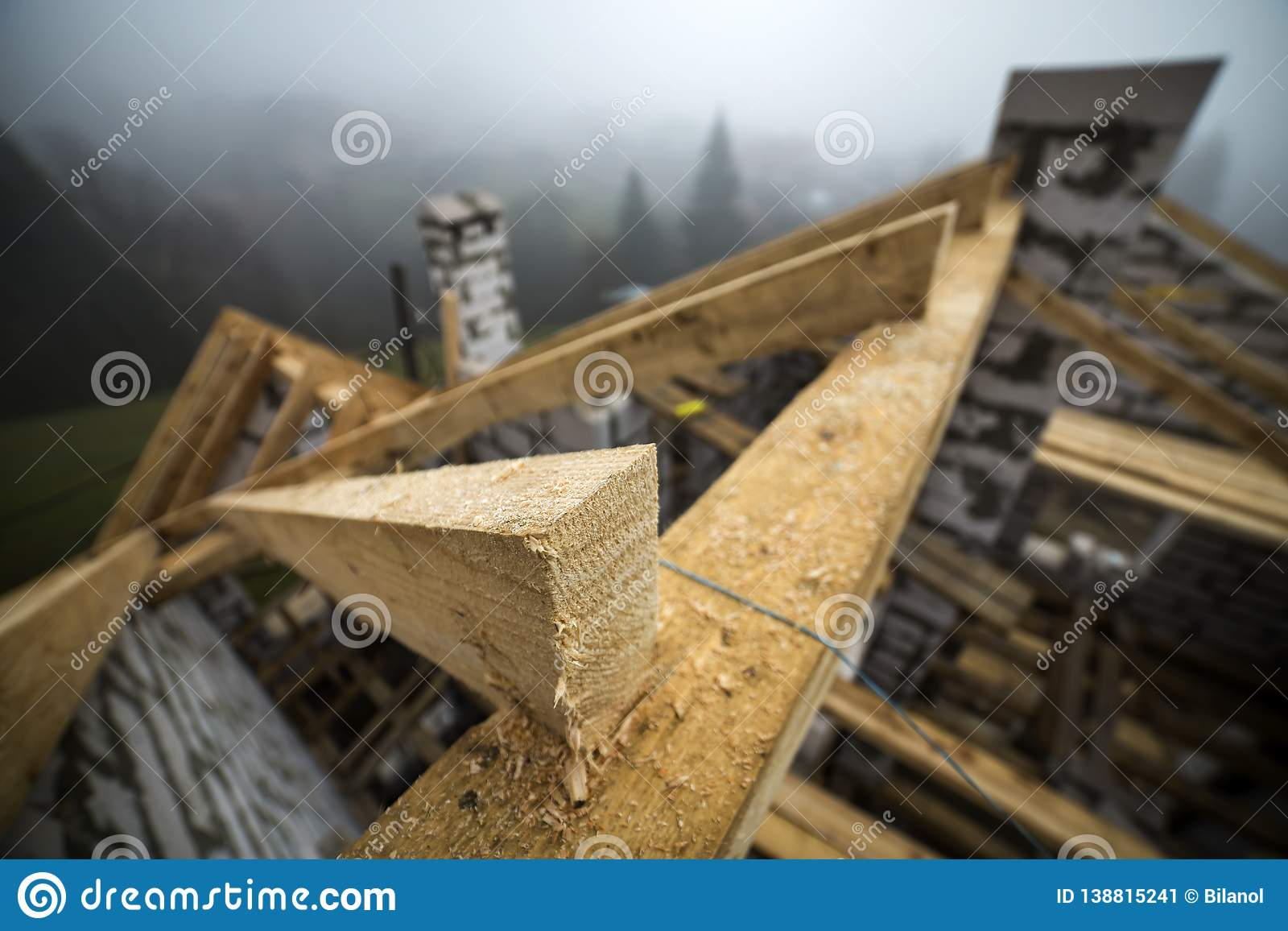 Top View Of Roof Frame From Wooden Lumber Beams And Planks