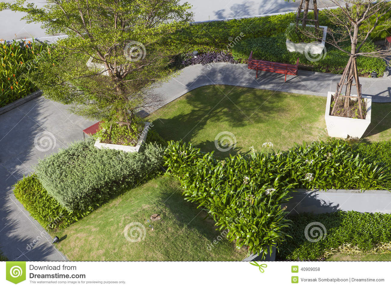 Top View Of Roof Top Garden Stock Photo Image Of Natural