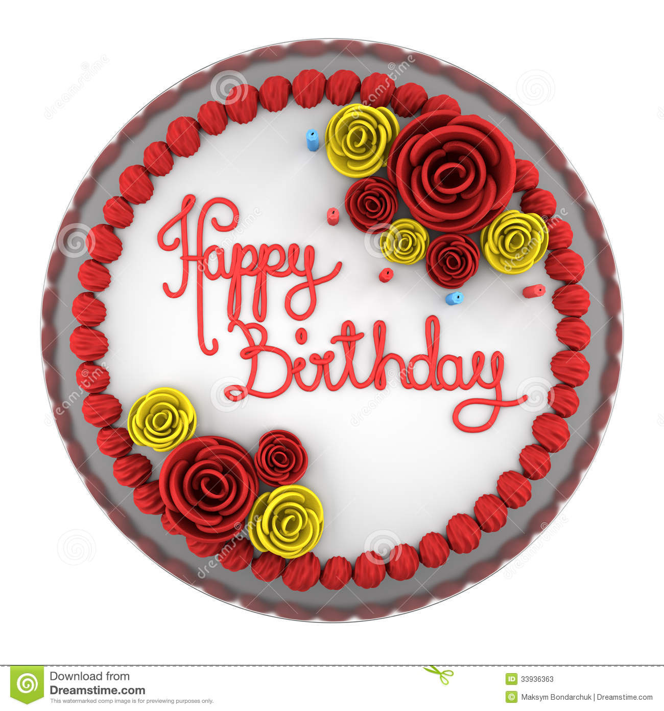Cake Images Top View : Top View Of Round Birthday Cake With Candles On Dish ...