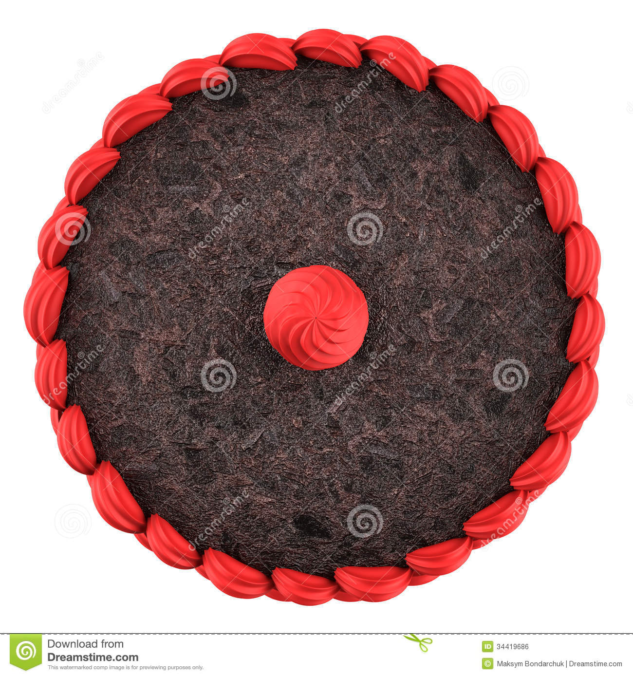 Top View Of Round Chocolate Cake With Pink Cream Isolated ...