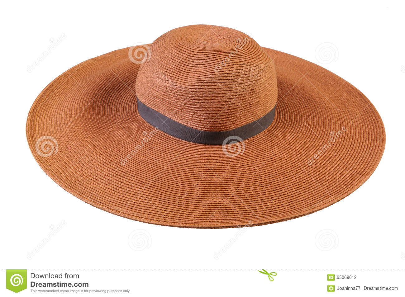 Top View Of A Round Straw Hat On A White Background. Stock Photo ... d3f06ede8534