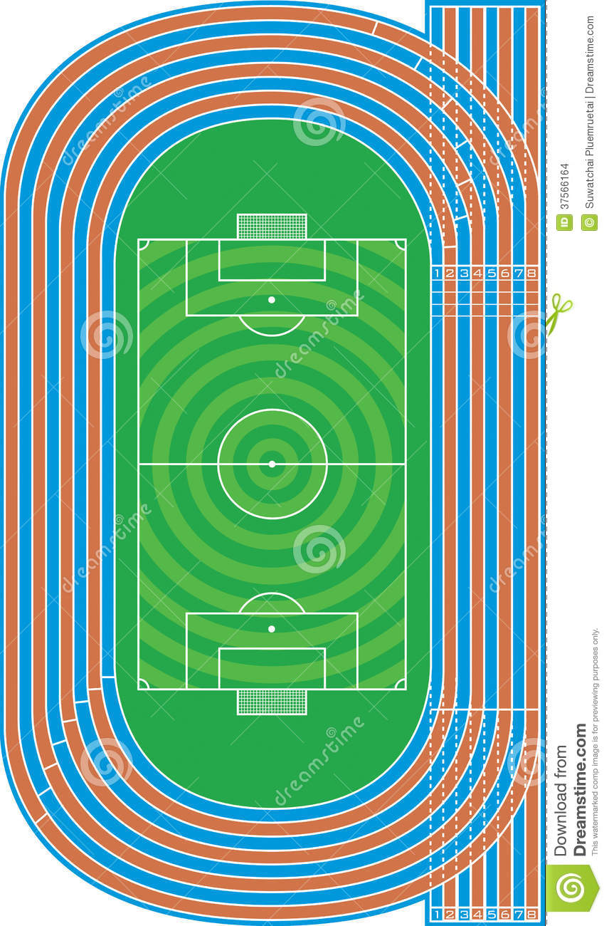 top view of running track and soccer field stock vector