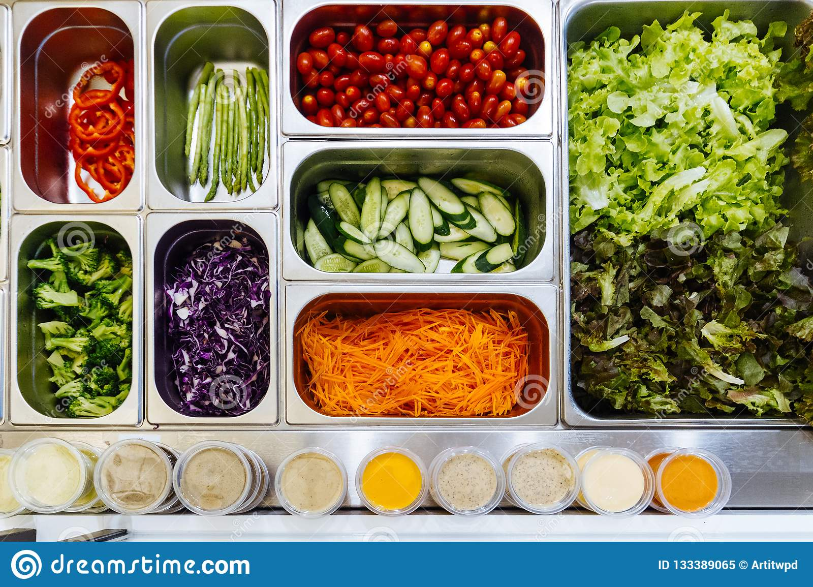 Top View Of Salad Bar With Assortment Of Ingredients. For ...
