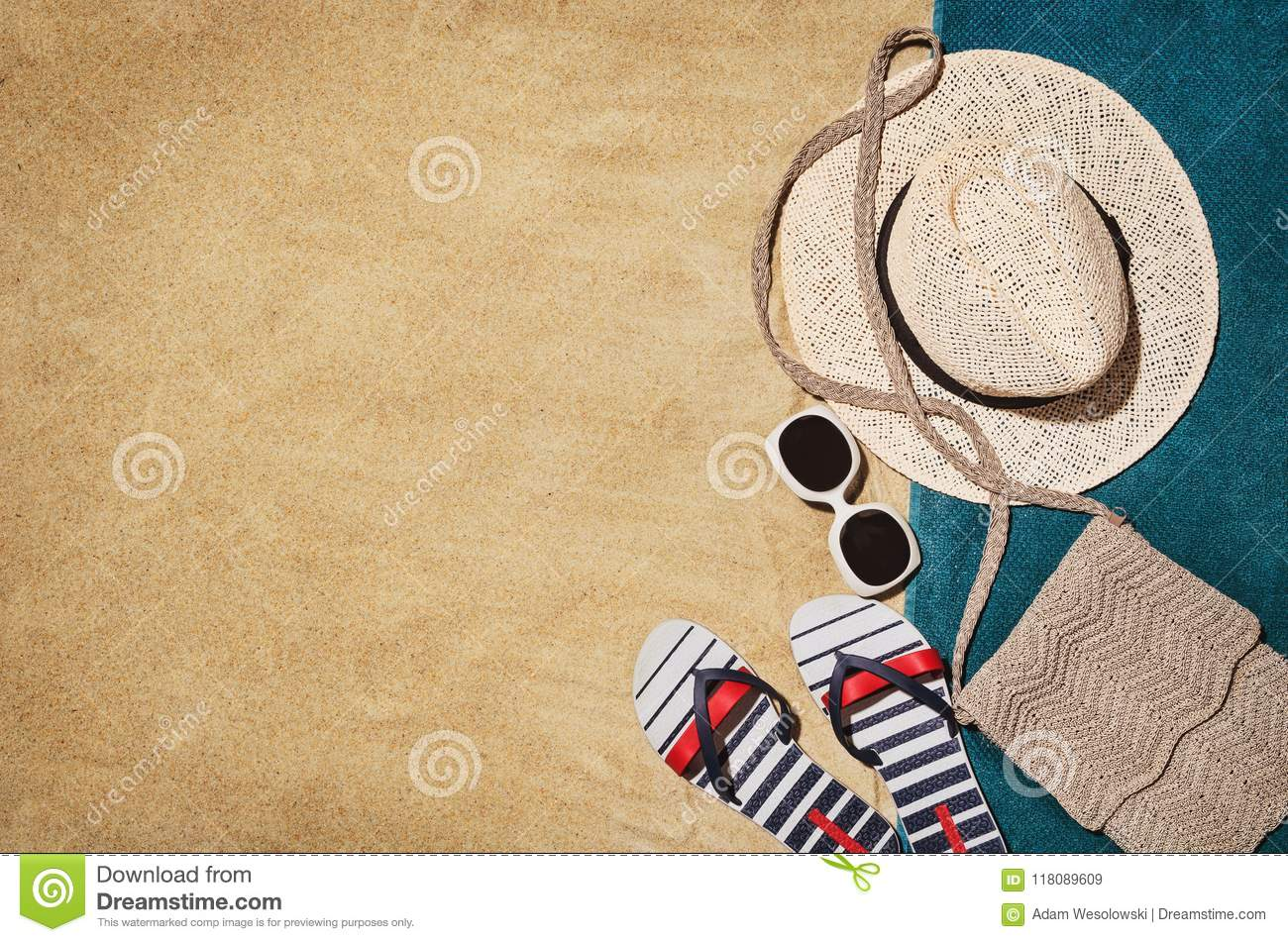 Top view towel on sandy beach. Background with copy space