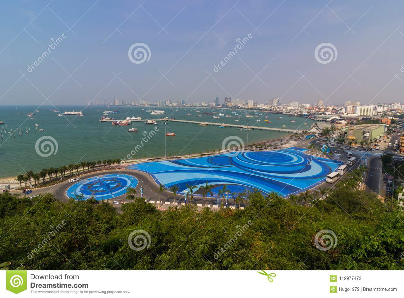 Colourful park on Pattaya bay in Thailand