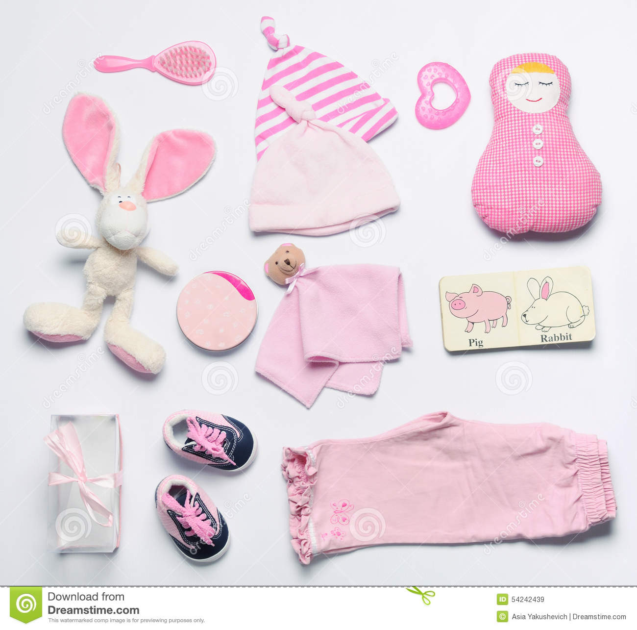 Top View Set Fashion Trendy Pink Stuff For Baby Girl