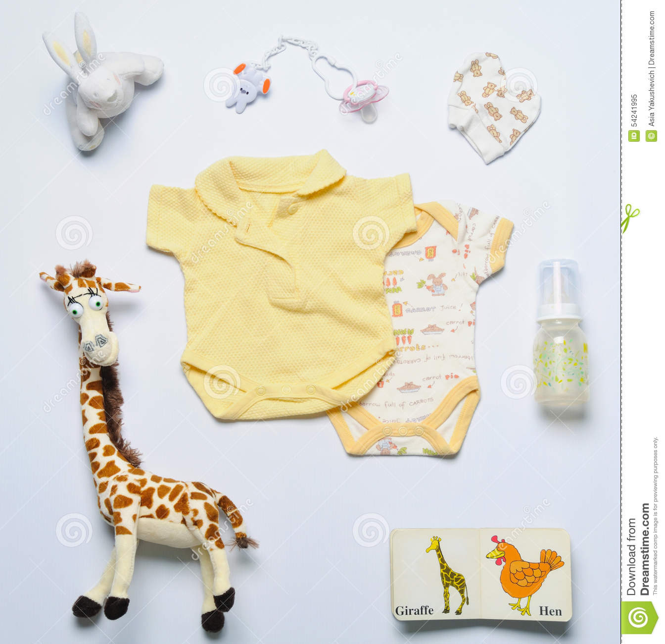 Top View Set Fashion Trendy Stuff And Toys For Newborn