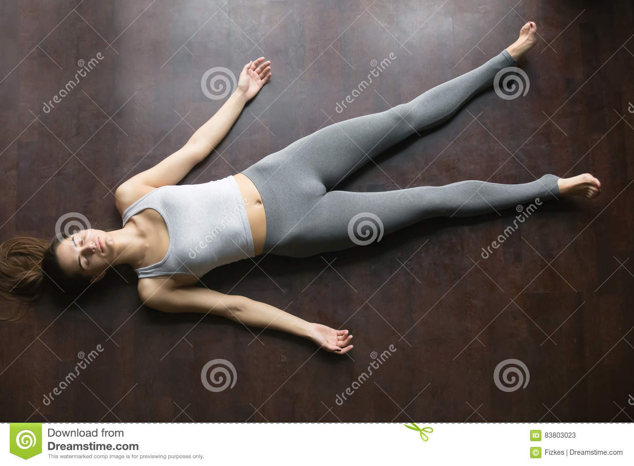 Top View Of Shavasana Yoga Posture Stock Photo - Image: 83803023