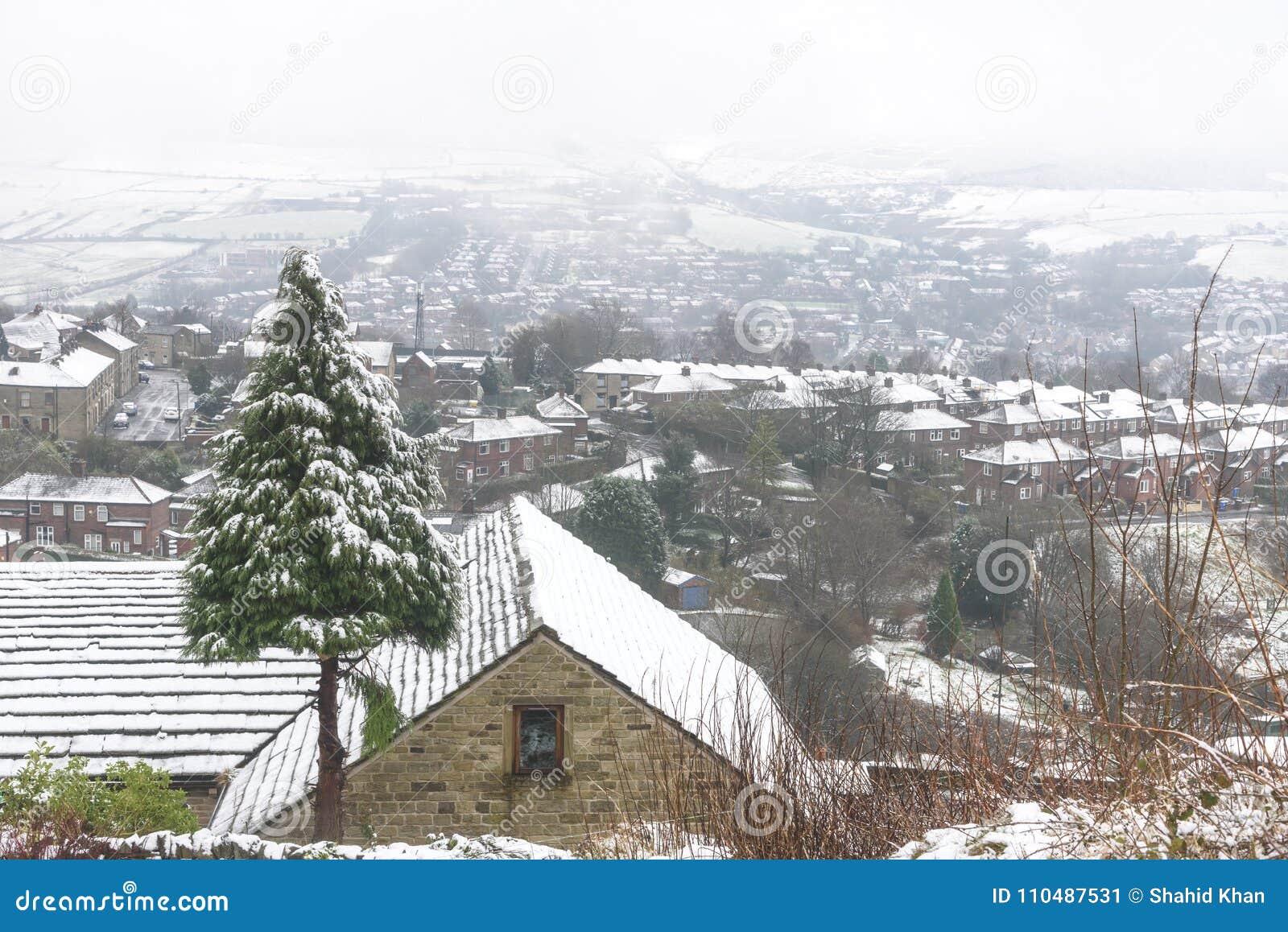 England Christmas Snow.Christmas Tree Snow Covered Village Uk Stock Image Image